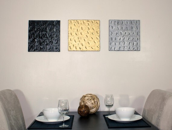 "Black Metallic Abstract 3D Painting - 12"" Square - Mix & Match"