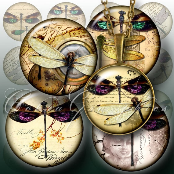 Dragonflies  Digital Collage Sheet CG456  15 inch by CobraGraphics from etsy.com