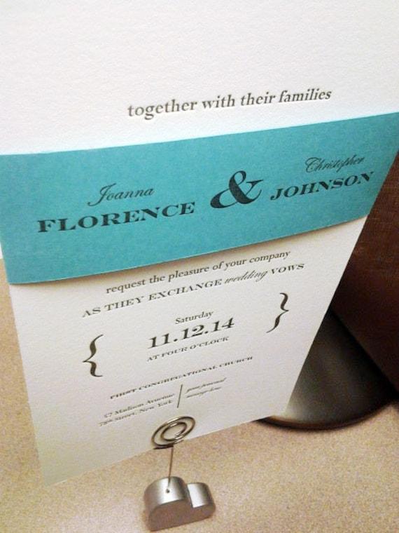Tiffany Blue SAMPLE Letterpress Wedding Invitation