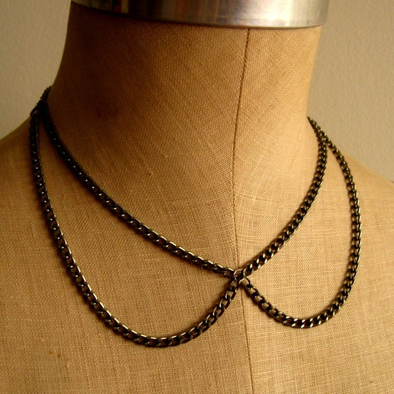 Peter Pan Collar Necklace, Gunmetal