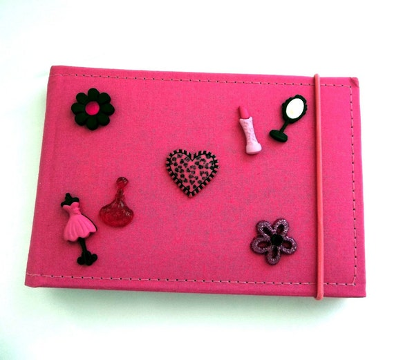 Photo Album Pink, Princess, Diva, Make Up, Flower, Buttons