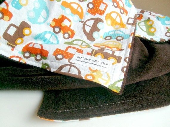 Organic Cotton Baby Blanket Cars Crib or Stroller Blanket with Brown Minky- large