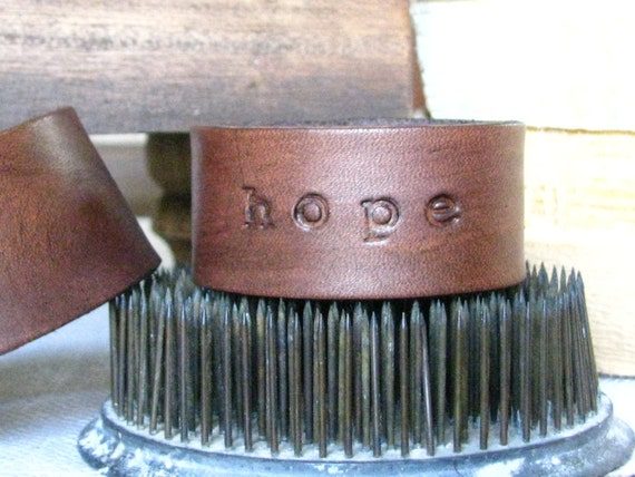 Leather Cuff / Bracelet, HOPE
