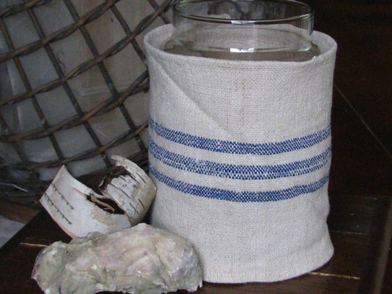 European Grain Sack / Flour Sack Jar Candle Cover