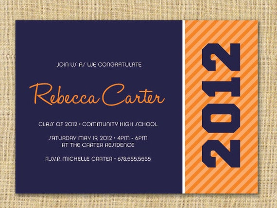 Orange Striped 2012 Graduation Invitation