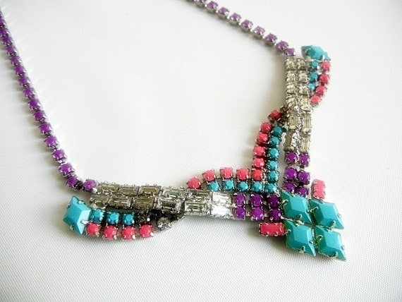 Vintage 1950s One Of A Kind Hand Painted Bold Turquoise Purple and Pink Necklace