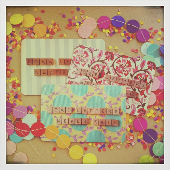"Beautiful ""Love Letters"" Postcard Set - Heavy Cardstock - Set of 3 Assorted Pretty Fabric/Scrabble Letter Designs."