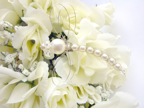 White Swarovski Pearl Dragonfly Wedding Bouquet Decoration