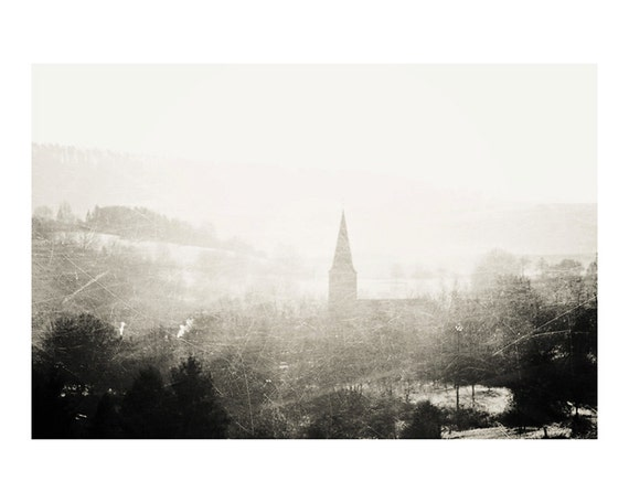 church bleak winter black and white landscape photograph - fine art photography, cold, haunted, spooky, fog - 10x8
