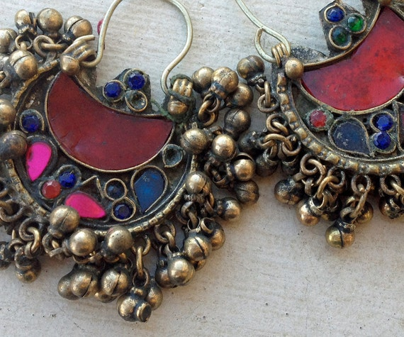 Kuchi Earrings or Pendant Pair (21): American Tribal Style Belly Dance, Assemblage Supply
