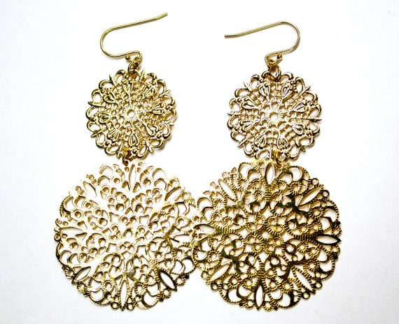 Big Gold Lace Earrings