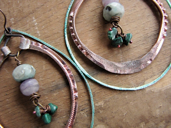 spring gypsy - bohemian double hoop earrings - hammered metal - eco chic