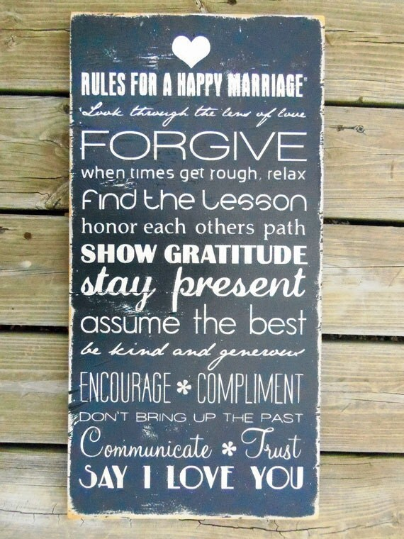 Typography Wall Art- Marriage Rules Wood Sign