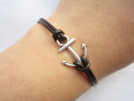 Bracelet---antique silver little anchor&brown leather chain