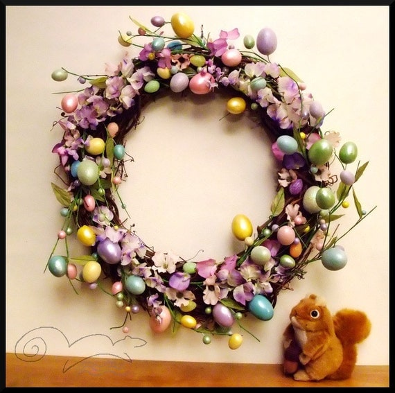 Easter Wreath with Egg Garland and Purple and Pink flowers