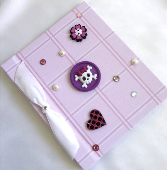 Button Photo Album Pink Plaid  - Skull, Heart, Flower, Rockabilly, Bling
