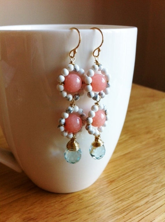 BLUSH Drop - cherry jade, howlite, aqua blue glass