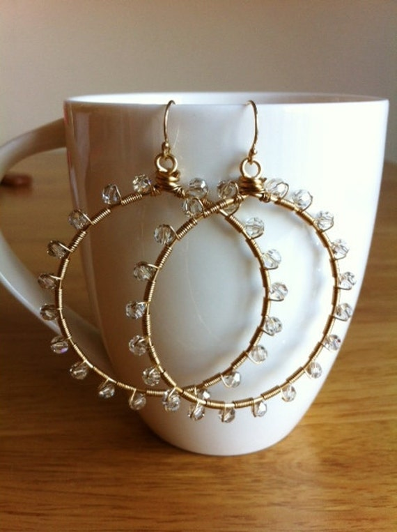 Sunburst Swarovski Champagne crystal wrapped hoops