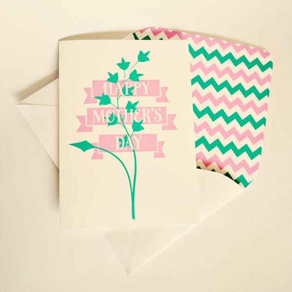 Greeting card, Mother's Day, Pink, Aqua