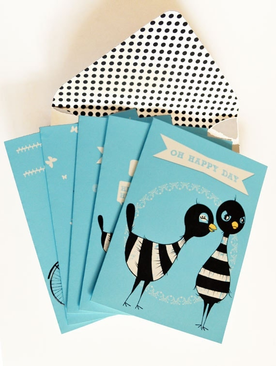 Greeting card, Whimsical, Humorous, Card collection, Birds, Magpies, Turquoise, Blue