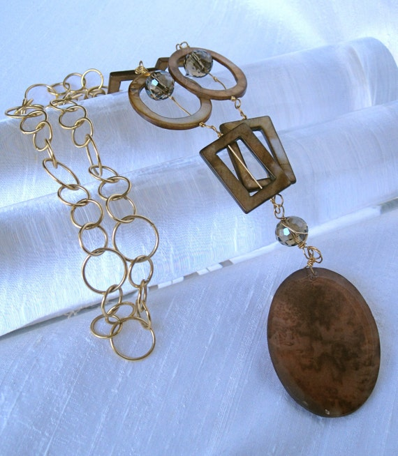 Gold Wire-Wrapped Crystal Pendant with Gold Chain