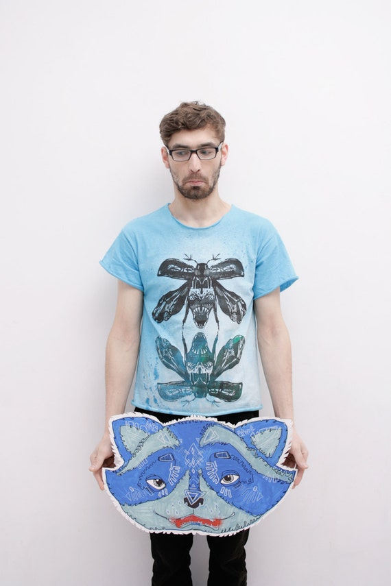 Light blue hand dyed mens  tshirt   with maybugs print