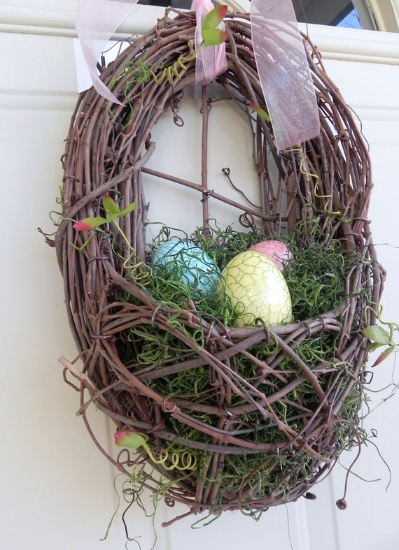 Easter Wreath Nest with sparkle eggs Grapevine READY TO SHIP