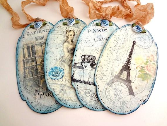Париж подарков Теги Потертый Метки Чик, белый и синий Розы Теги Потертый синий Теги Vintage французского Метки