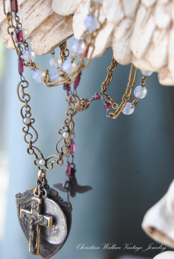 Матовое стекло Розария Ожерелье - Vintage Assemblge Святой медаль стекла цепи Розария ОЖЕРЕЛЬЕ