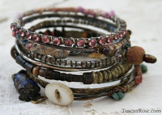 Bangle Stack 94 - set of 10 Bangles - urban gypsy bracelets