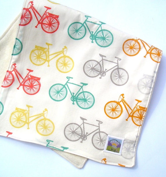 Organic Cruiser Bikes Burp Cloth - Unisex Rainbow Colors - Organic Cotton with Organic Flannel Backing