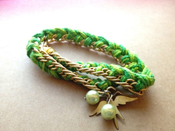olivia upcycled chain wrap bracelet in green