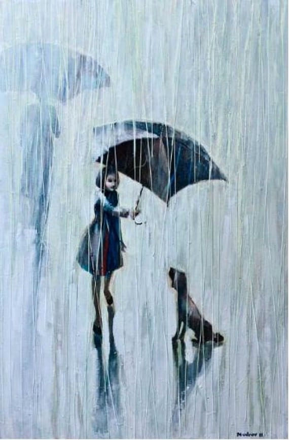 Umbrella For Two.   2011        Original  Oil  painting print   on Canvas       20x30   88 .00