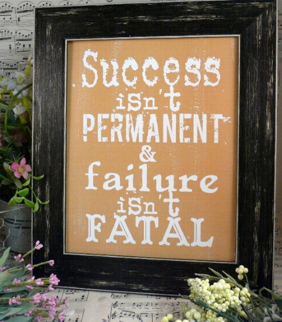 Success and failure sign digital   - yellow gold uprint NEW 2012 art words vintage style primitive paper old pdf 8 x 10 frame saying
