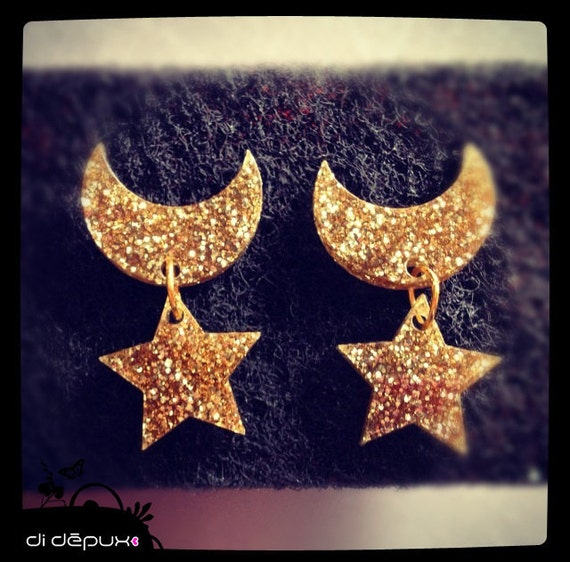 Sailor moon gold glitter laser cut earrings