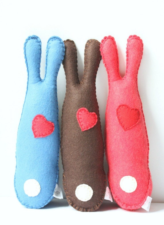 Felt Animal Plush Stuffed Bunny Rabbit, Cute Felt Stuffed Easter Bunny Animal, Pink Felt Soft Toy
