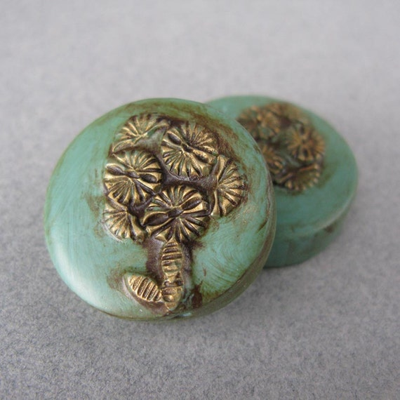Faux Verdigris Polymer Clay Flower Beads Set of Two