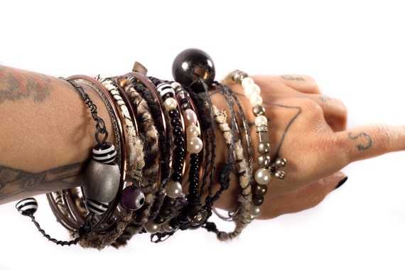 Gypsy Bangle Bracelets awesome for Tribal Belly Dance Summer festivals, Bohemian, aged looking, stack, patina, beads black cream pearls