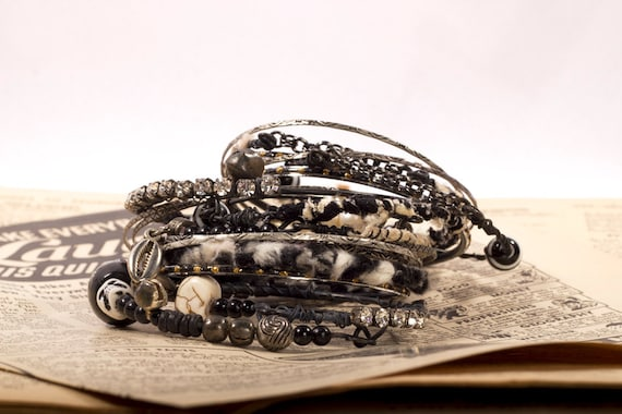Gypsy Traveler Bangle Bracelets awesome for Tribal Belly Dance Summer festivals, Bohemian, aged looking, stack, patina, beads black cream