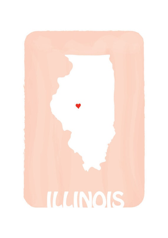 Personalized Wedding Gift Print ILLINOIS MAP Custom Color Love State Map Silhouette Illustration / Large 13 x 19 / Peach