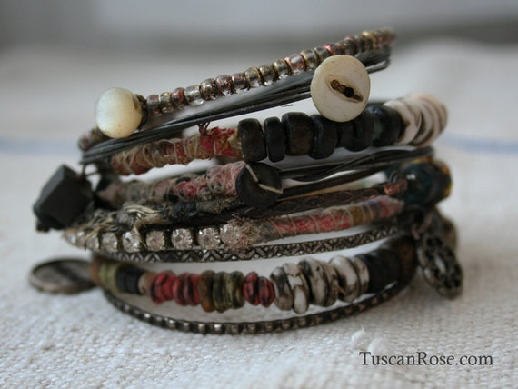 Bangle Stack 62 - set of 10 Bangles - urban gypsy bracelets