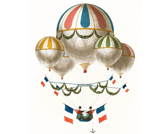 "Hot Air Ballon - Hot Air Balloon - French Hot Air Balloon - Retro Poster - 18"" X 12"" Print"