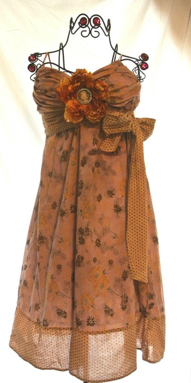 Страна шикарный сарафан, Prairie девушка скольжения платье, руки окрашенные винтажное платье, деревенский кофе, цыган, Boho, летнее платье, цветок брошь