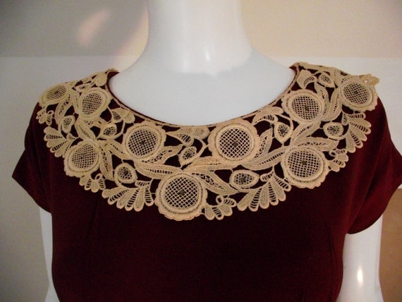 Vintage 1930's wine dress with cream lace collar
