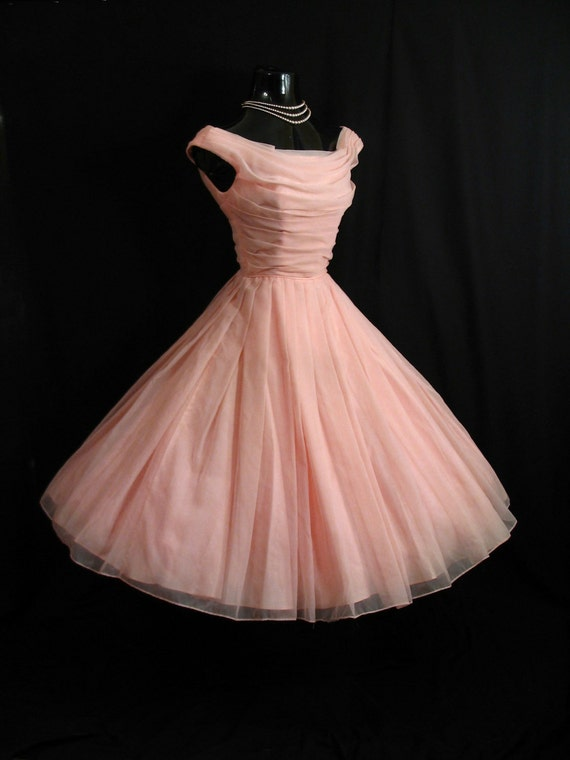 Vintage 1950's 50s Bombshell Jonny Herbert Ruched Pink Chiffon Organza Party Prom Wedding Dress