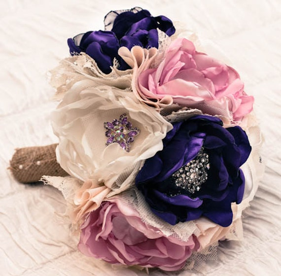 Fabric Wedding Bouquet, with brooches