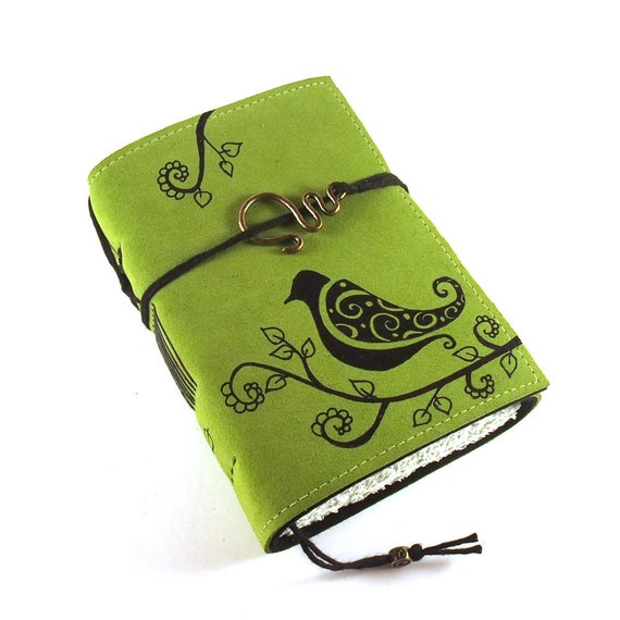 Leather Journal, Handmade, Spring Bird