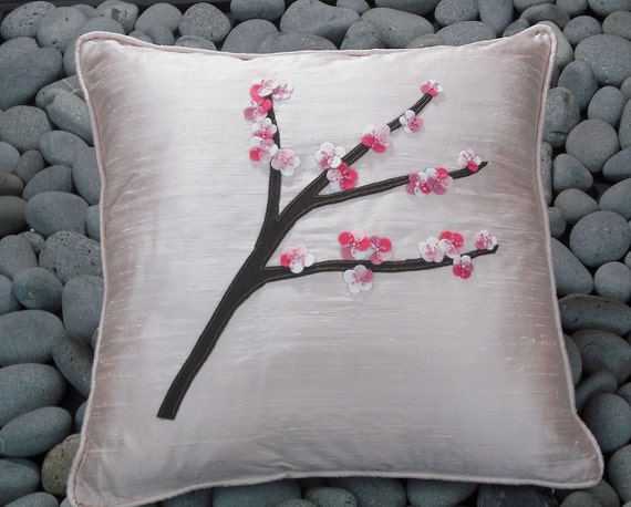 Pink Cherry Blossom Silk Dupioni Pillow with Freshwater Pearls and Felted Flowers