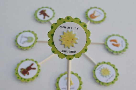 Neutral Green Baby Shower Cupcake Toppers for Boy or Girl