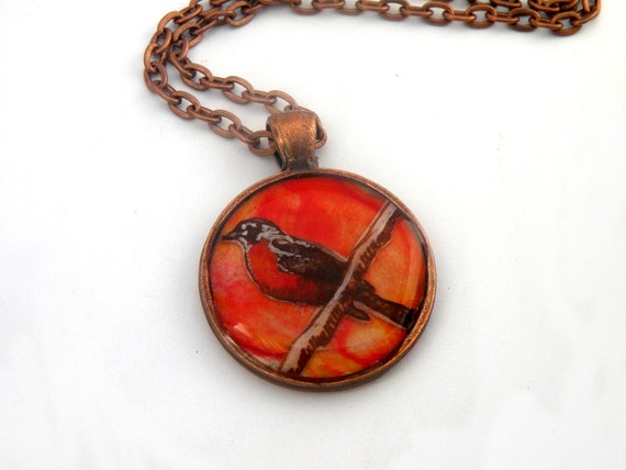 red robin necklace, hand painted, orange